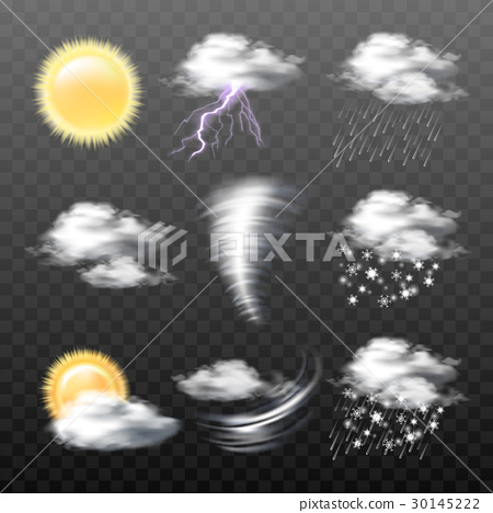 Set of vector realistic weather icons isolated on 30145222