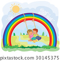Carefree young children swinging on the rainbow 30145375
