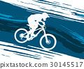 Silhouette of a cyclist riding a mountain bike 30145517