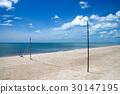 volleyball net on the beach and blue sky. 30147195