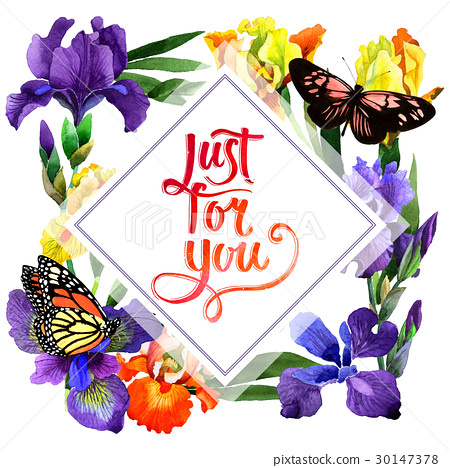 Wildflower iris flower frame in a watercolor style 30147378