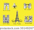 Paris city sights illustrations 30149267