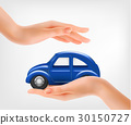 Hands, holding a blue model car. Vector. 30150727
