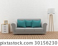 modern sofa in the room loft design in 3D renderin 30156230