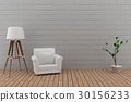 single sofa with lamp in the brick wall and wood  30156233