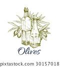 Olive oil sketch label design with branch, fruit 30157018