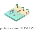 Isometric Coastal Line Composition 30158255