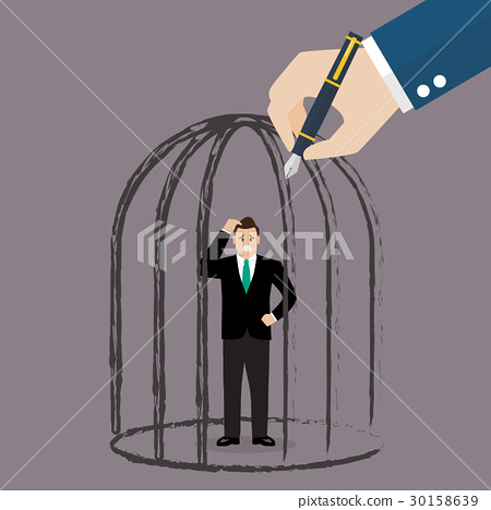 Businessman standing in a hand drawn cage 30158639