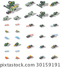 Agricultural machinery isometric icon set 30159191
