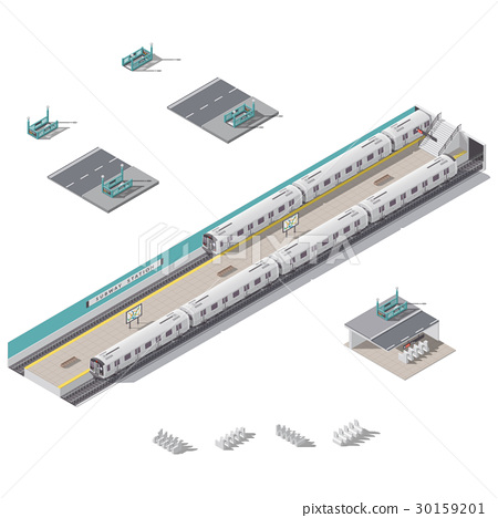 Subway station isometric icon set 30159201