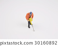 Figurine of construction worker at construction 30160892