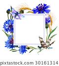 Wildflower carnation flower frame in a watercolor 30161314