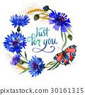 Wildflower carnation flower frame in a watercolor 30161315
