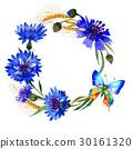 Wildflower carnation flower frame in a watercolor 30161320