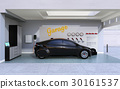 充电车库的一辆黑电车的图象。 30161537