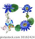 Wildflower blue lotus flower frame in a watercolor 30162424