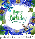 Wildflower blue lotus flower frame in a watercolor 30162473