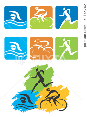 Triathlon running swimming cycling Icons  30163762