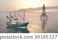 Fishing trawler and lighthouse 30165127