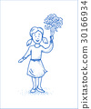 Small happy girl with flowers. Blue line 30166934