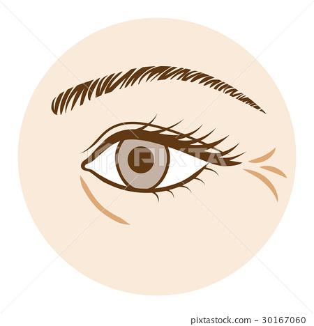 皱纹身体部位在眼睛前视图 30167060