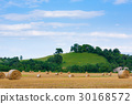 Italian countryside.Round bales on wheat field 30168572
