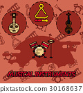 Musical instruments flat concept icons 30168637