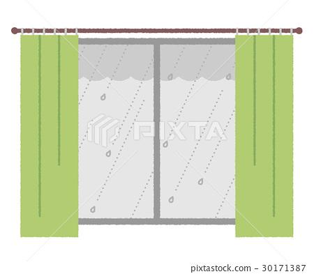 หน้าต่าง,ฝนตก,ผ้าม่าน 30171387