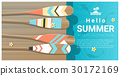 Hello summer background with paddle on wooden pier 30172169