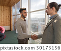 Two Business Man Shake Hand Agreement Coworking 30173156