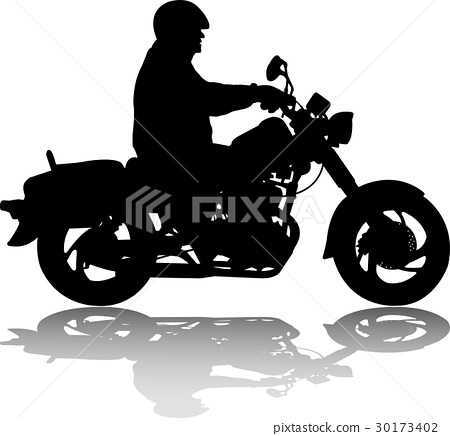 man riding classic vintage motorcycle silhouette 30173402