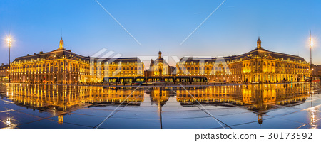 Iconic panorama of Place de la Bourse with tram 30173592