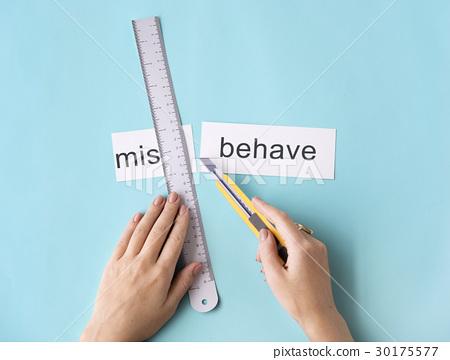Misbehave Impolite Hands Cut Word Split Concept 30175577