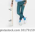 Tattoo Skater Holding Skateboard Extreme Sport Style 30179159