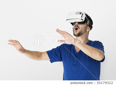 A man using a visualiaing reality gadget 30179322