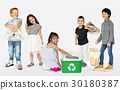 Ecology group of children separate trash for recycle 30180387