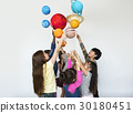 Group of Kids Holding Papercraft Galaxy Symbol on White Blackground 30180451