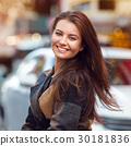 Beautiful young woman with natural teeth smile 30181836
