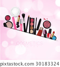 Sets of cosmetics on Pink Bokeh Background Vector 30183324
