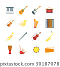 Cartoon Musical Insrtuments Color Icons Set 30187078