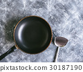 Pan and spade of frying pan on grunge background. 30187190