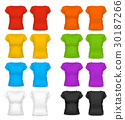 Realistic Template Blank Color Woman T-shirt 30187266