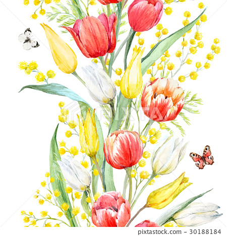 Watercolor mimosa and tulip vector pattern 30188184
