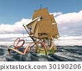 Giant octopus attacks 18th century corvette 30190206