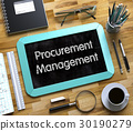 Small Chalkboard with Procurement Management. 3d. 30190279