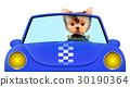 Funny puppy sitting in the cabriolet 30190364