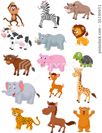 Wild Animal Cartoon Collection Stock Illustration 30190651 Pixta