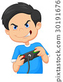 Child plays games on video game console 30191676