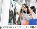 A group of people is discussing about the clothes in mall. 30193868