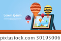 Modern Tablet Computer With Colorful Air Balloons 30195006